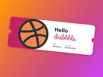 Hello Dribbble! gradient ticket shot debut