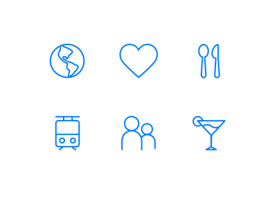 Icons for a job page cocktails drinks people team public transport train food heart world icons