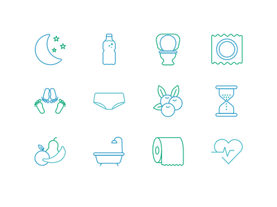 Icons for an urinary infection website healthy health fruit bath toilet line urinary infection green blue icons