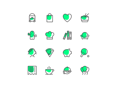 Temper icons green branding icons pack icons set icon design design volunteer retail hospitality icon set temper icons