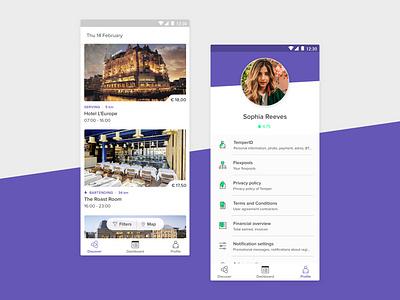 Temper Android app profile menu price shifts work purple app design design download temper android app app