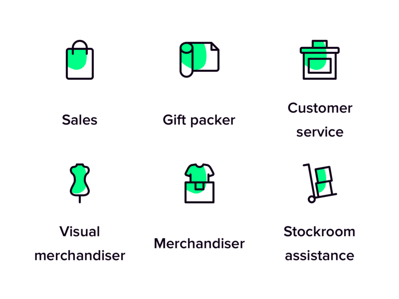 Retail icons for Temper stockroom customer service gift packer sales merchandise store help shopping retail filled icon line icon vector illustration branding purple green iconset icons design temper