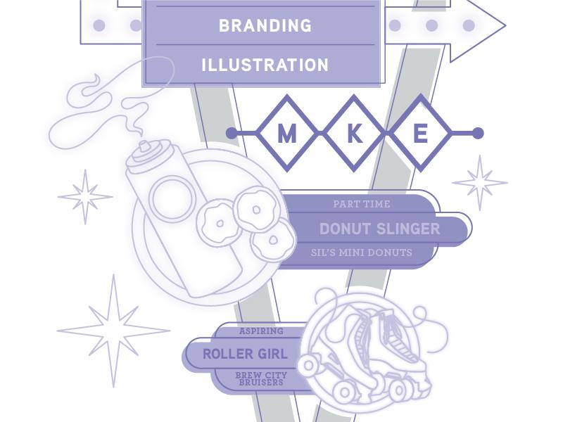 Resume Graphic Lower illustration vintage sign roller skates donuts neon googie mke