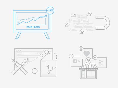 development icons design illustration icon seo agency advertisment smm development icons