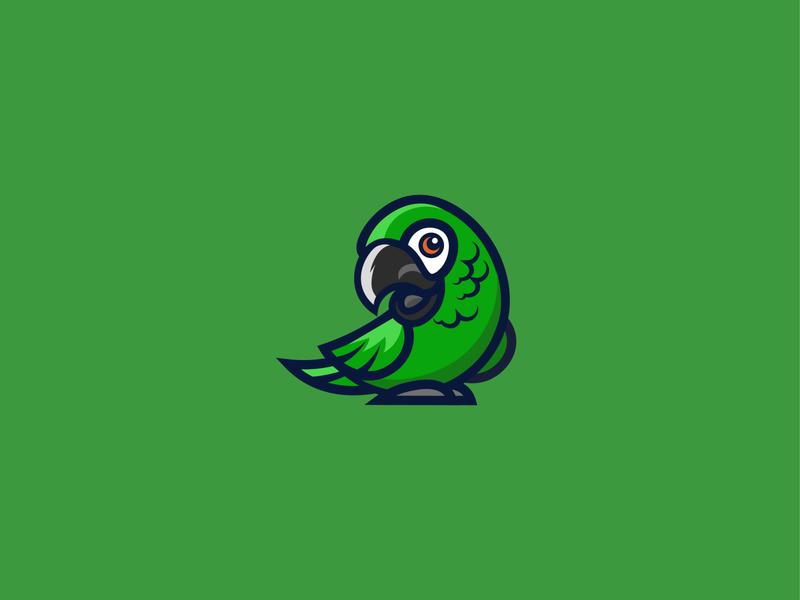 Parrot logo sale sketch green bird parrot