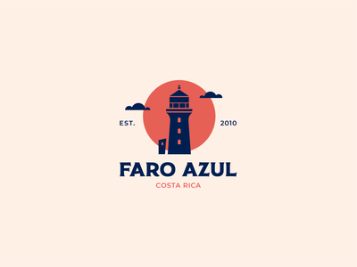 Faro Azul sun clouds lighthouse branding illustration logodesign logotypedesign logo