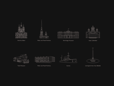 Icons for custom map cathedral leningrad church hermitage set russia saint-petersburg icon
