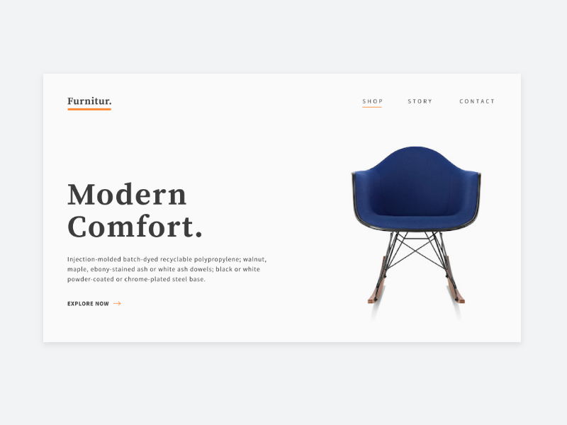 Landing Page – Daily UI Challenge #003 challenge daily ui user interface ux ui web chair eames furniture landing page