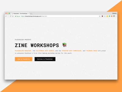 Placeholder's Zine Workshops magazine zine htmlcss design javascript web