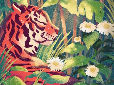 Tiger Illustration artph procreate digital painting digital art cartoon jungle forest illustration tiger