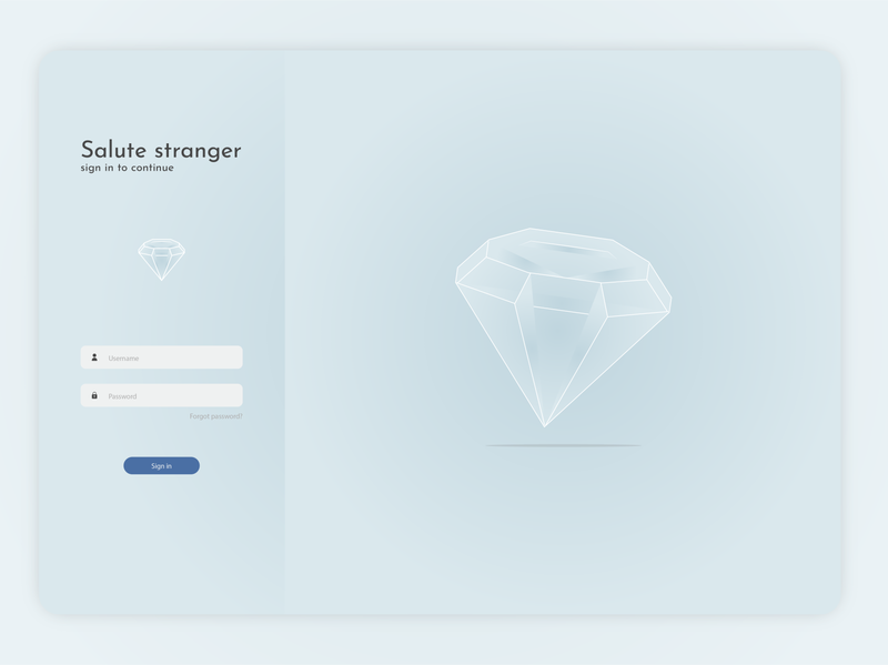 UX / UI login screen diamond logo app illustration design ui design ux design ui ux