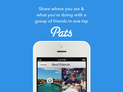 Pats! iphone landing page photo sharing friends