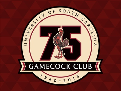 Gamecock Club 75th Anniversary Logo logo anniversary 75 south commemorative