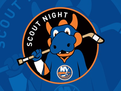 Islanders Scout Night Patch hockey patch new york islanders sparky nhl hockey logo hockey mascot scout night