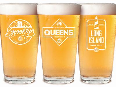 Islanders Community Night Beer Glasses long island queens brooklyn beer logo custom beer glass
