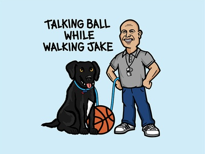 Talking Ball While Walking Jake vector black lab dog character design basketball illustration