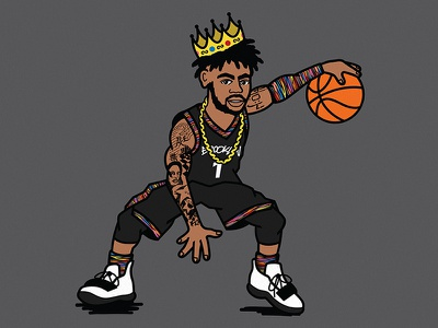 DLoading x Biggie dangelo russell notorious big biggie smalls biggie vector basketball illustration brooklyn nets