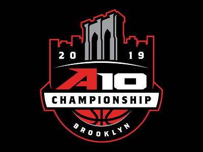2019 A10 Championship Logo brooklyn vector commemorative branding logo design basketball basketball logo