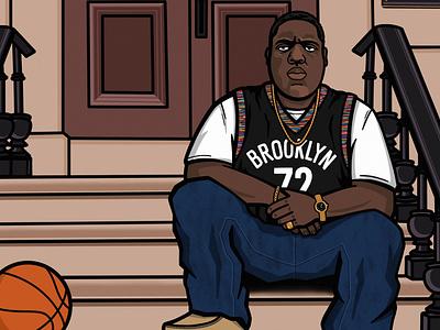 Happy Birthday Biggie notorious big biggie smalls biggie commemorative vector illustration brooklyn brooklyn nets basketball