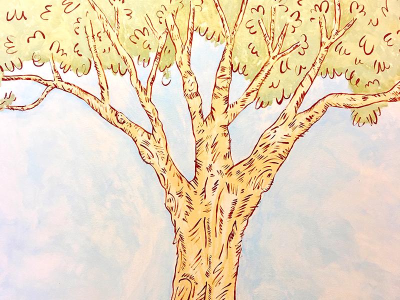 Tree Mural Crop whimsical illustration tree mural
