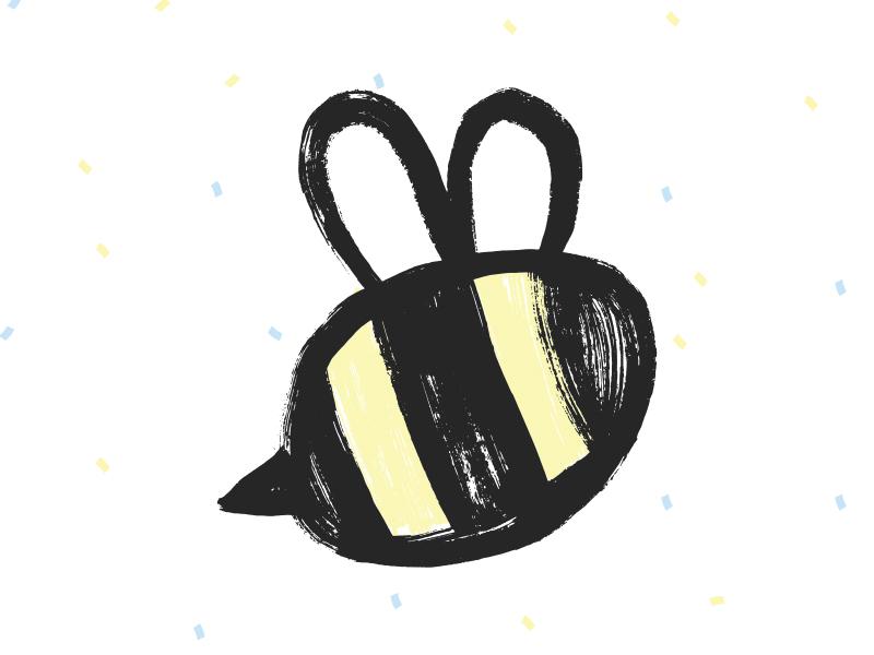 Bee Logo - The Wild Honey Pie texture hand painted vector bee logo
