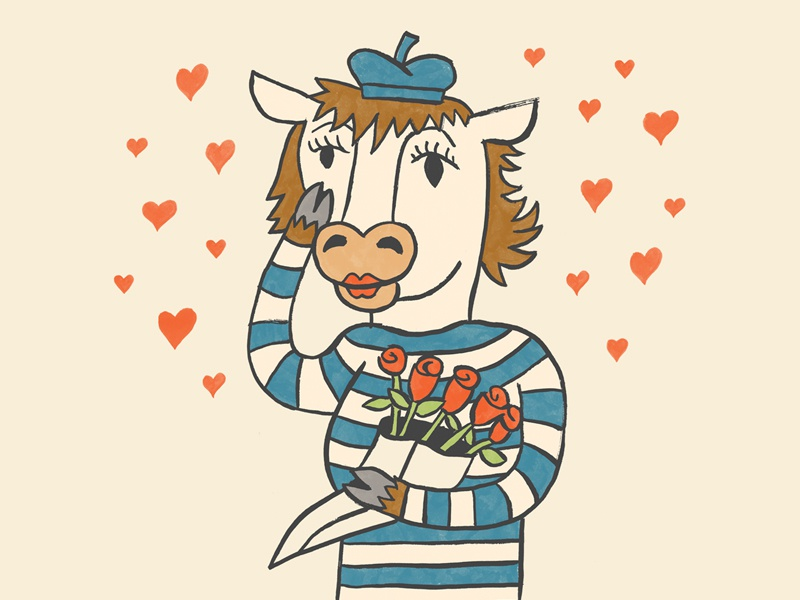 Cow #2 drawing ink france french hearts love illustration cow