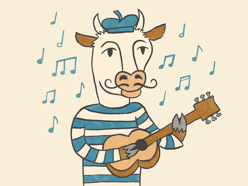 Cow #1 drawing ink france french guitar music illustration cow
