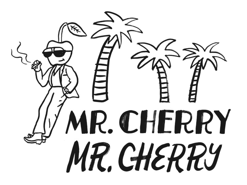 Mr. Cherry dude ink illustration palm tree cherry lettering