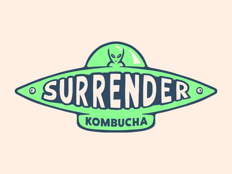Surrender Kobucha spaceship cool weird typography alien beverage kombucha logo