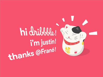 What's up Dribbble? maneki neko fortune cat minimal flat graphic illustration debut