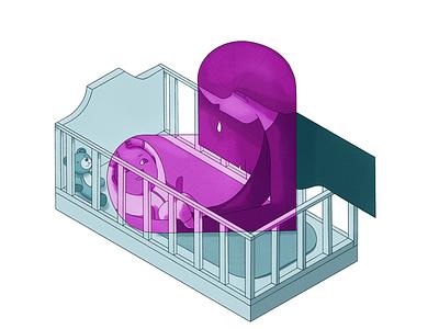 Editorial illustration: Foundlings editorial illustration editorial motherhood baby krant algemeen dagblad newspaper drawing illustration
