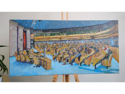 Painting of the Dutch House of Representatives den haag live paint painting politiek tweede kamer