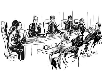 Courtroom VII politiemol den bosch rechtbanktekenen rechtbank drawing courtroom law sketch illustration faces realism court