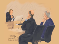 Courtroom drawing truck accident
