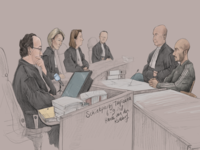 Courtroom drawing Tropicana-murder