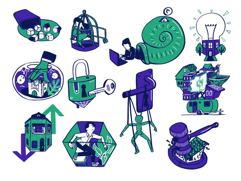 Editorial illustrations housing market metaphor housing market housing compilation magazine huizenmarkt illustration editorial