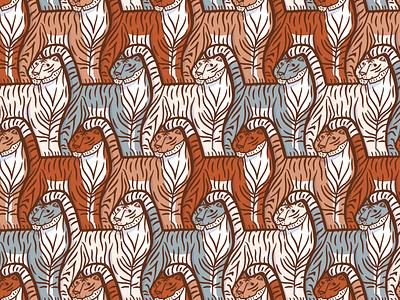 Tiger pattern escher animal animals tigers tiger pattern tessellation illustration
