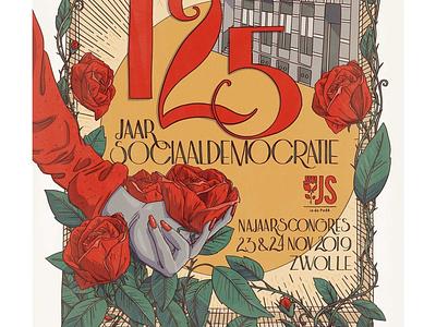 125 years of social democracy zwolle social democracy rose politics pvda illustration poster design vintage poster