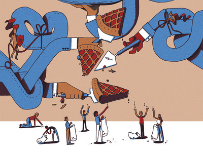 Editorial illustration: piece of the pie