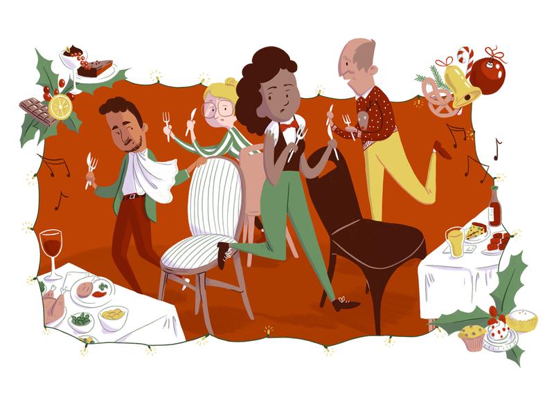 Editorial illustration: christmas dinner editorial illustration chairs dinner christmas dinner christmas dordrecht redactioneel editorial drawing illustration