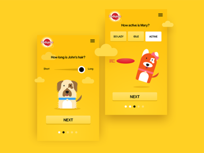 Adopt a dog website yellow mobile illustration pedigree dogs onboarding ux ui