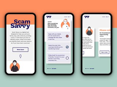 Scam Savvy learningtool onlinelearning quiz digitaldesign ui
