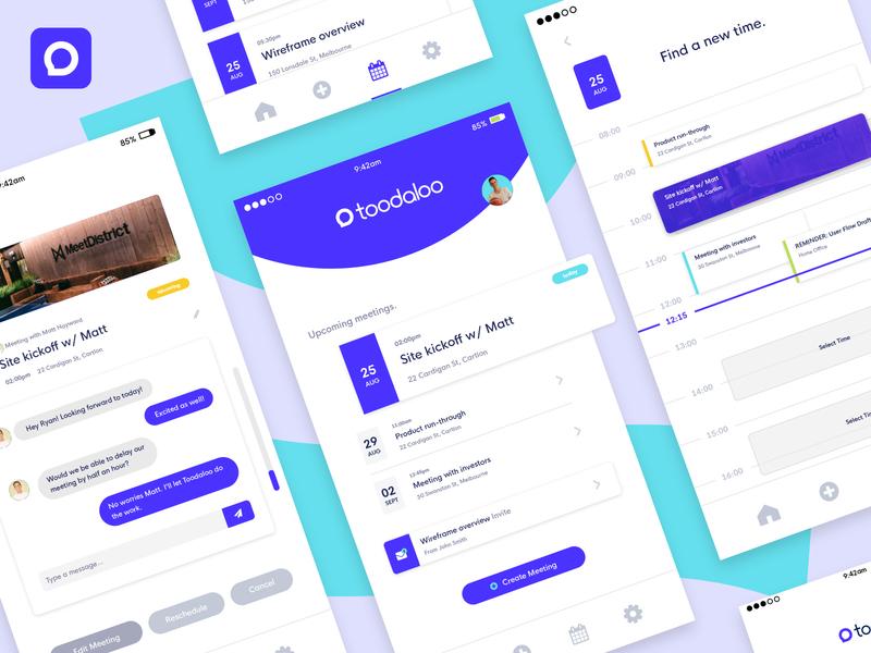 Toodaloo - App UI simple branding internet startup ux ui meeting booking app branding app