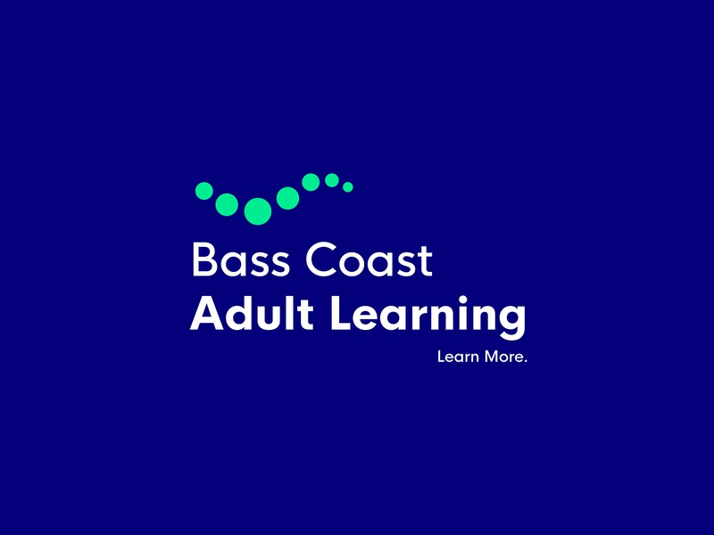Bass Coast Adult Learning Rebrand clever flat education learning rebrand modern logo simple branding