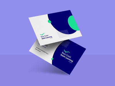 Bass Coast Adult Learning - Business Cards business cards print education learning modern logo simple branding