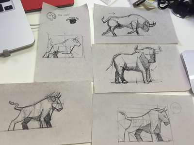 Bull Sketches paper pencil sketch bull