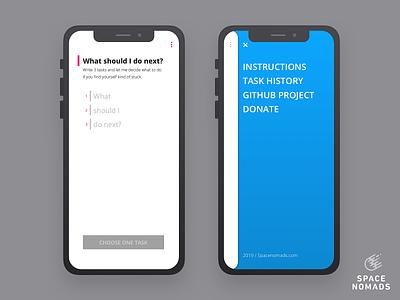 Main screen and mobile menu design ui sketch webapp decision manager