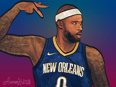 Demarcus Cousins boogie cousins new orleans pelicans nba basketball sports illustrator illustration demarcus cousins vector
