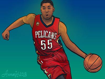 E'Twaun Moore vector art illustration basketball sports nba new orleans pelicans etwaun moore