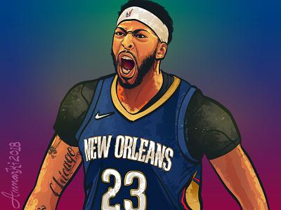Anthony Davis nbaart anthonydavis nba art vector art illustration nba new orleans pelicans the brow anthony davis